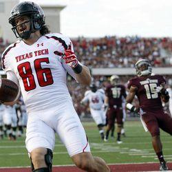 Texas Tech's Alex Torres celebrates a touchdown against Texas State during their NCAA college football game in San Marcos, Texas, Saturday, Sept. 8, 2012.