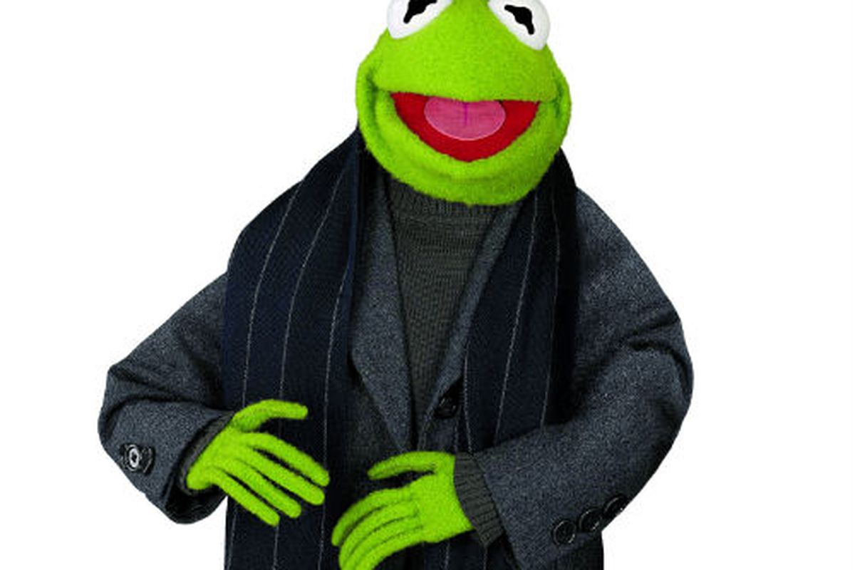 Kermit in a Brooks Brothers flannel coat, trousers, and a navy pin-striped cashmere scarf