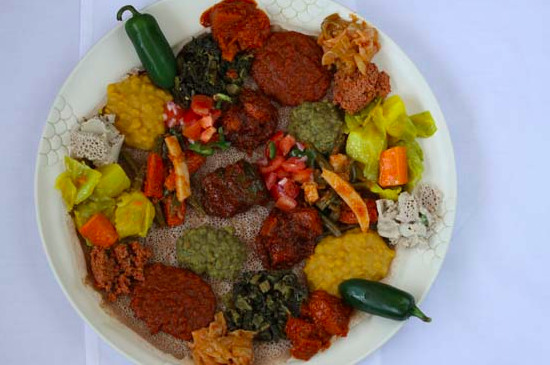 An assorted platter from Rahel Ethiopian Vegan Cuisine in Los Angeles, California