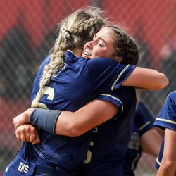 The Enterprise Wolves face off against the Beaver Beavers during the 2A softball championship game at Spanish Fork Sports Park on Saturday, May 15, 2021. The Wolves won 5-2.