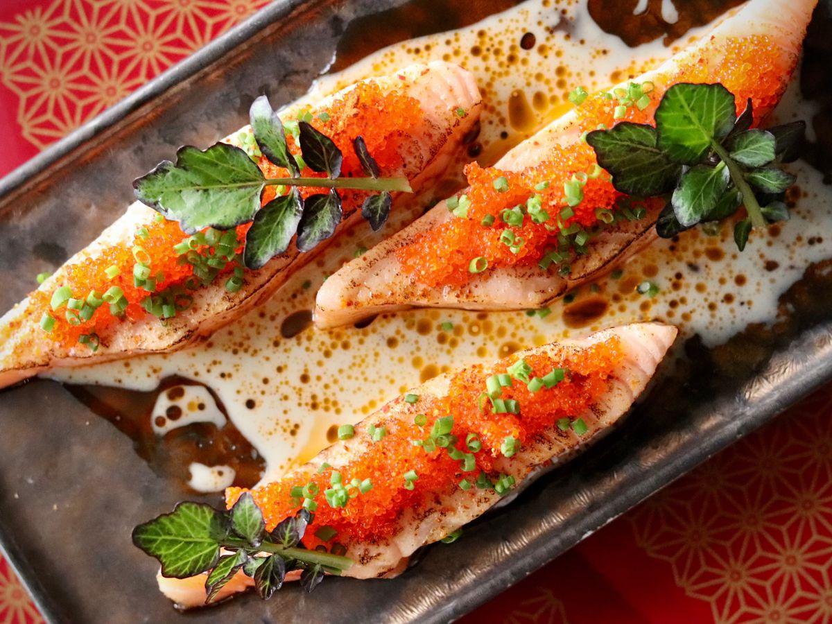 A plate of carpaccio salmon at Shaun Hergatt's restaurant Vestry in Soho