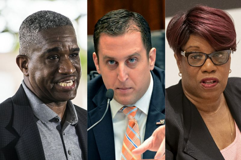 Ald. David Moore (17th), left, last year; State Sen. Michael Hastings, center, in 2015; Ald. Pat Dowell (3rd), right, in 2019.