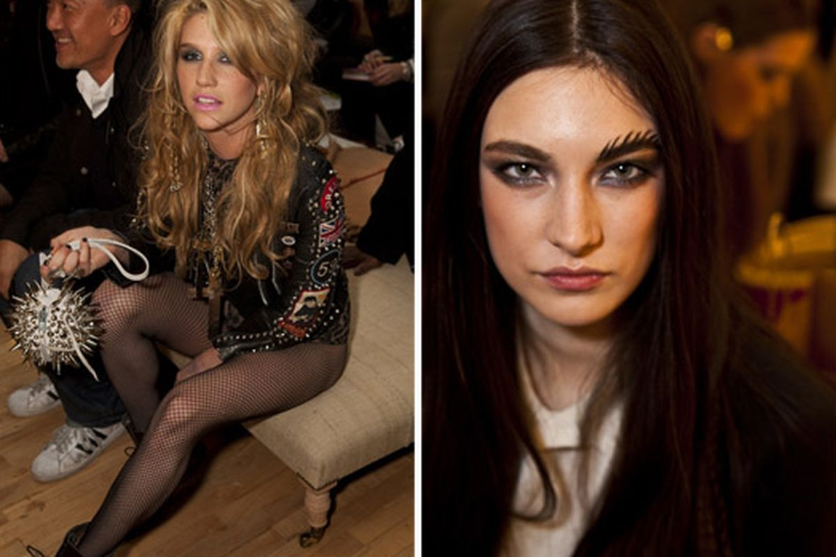 """Ke$ha and a feathered eyebrow, both via <a href=""""http://www.refinery29.com/erin-wasson-rvca-fall-2010.php?pic_index=6#imagefold"""">Refinery29</a>"""