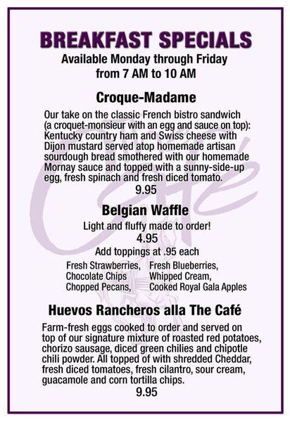 The Cafe Louisville Breakfast Menu