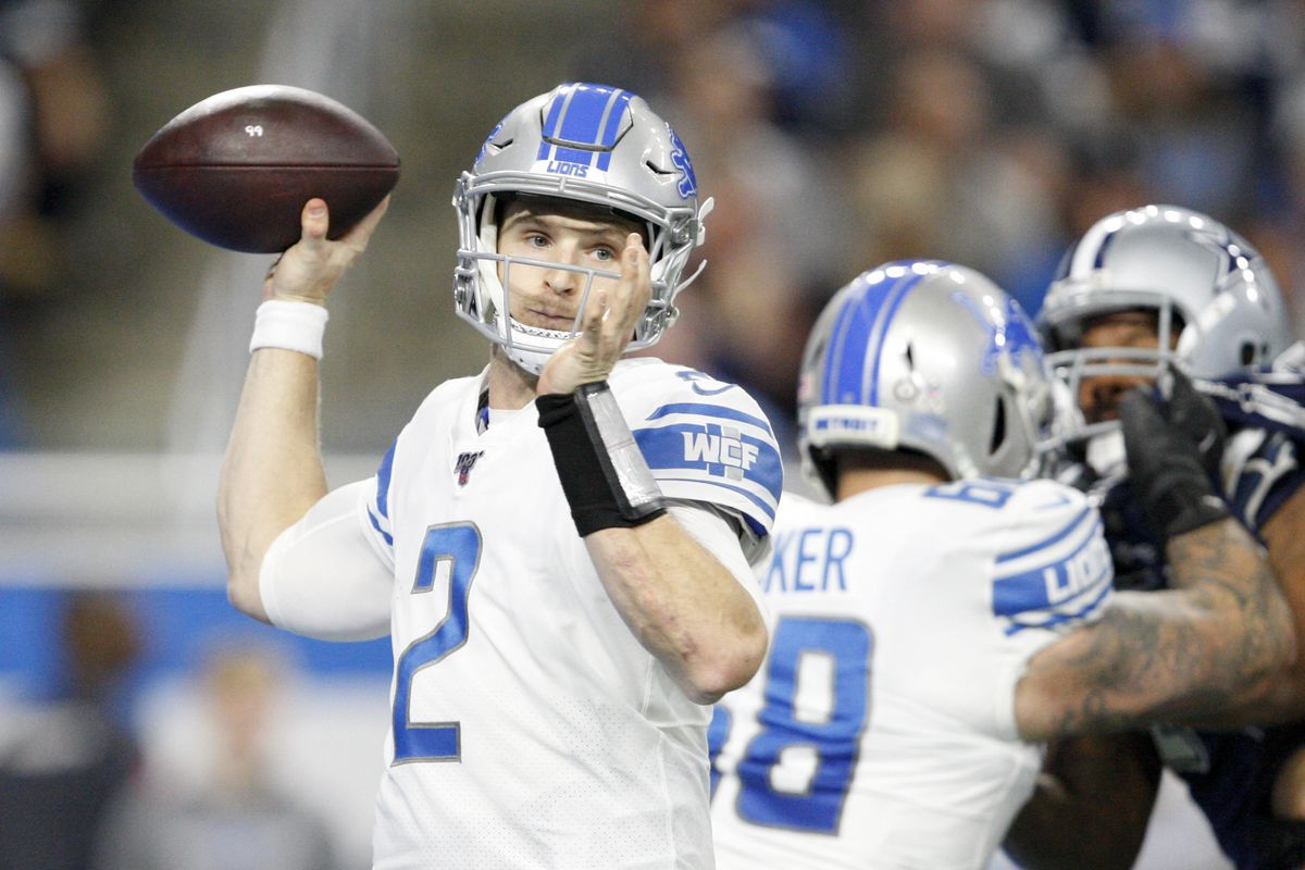 Detroit Lions quarterback Jeff Driskel passes the ball during the second quarter against the Dallas Cowboys at Ford Field.