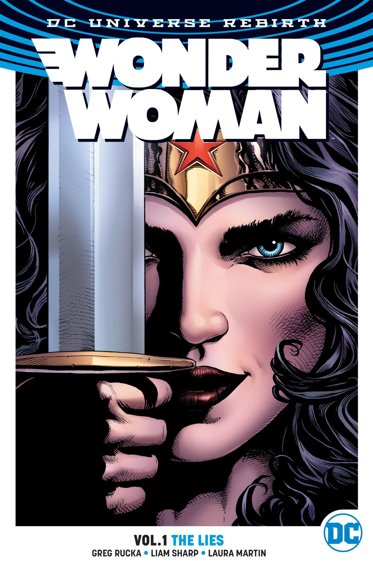 Wonder Woman raises her sword before her face on the cover of Wonder Woman: The Lies.