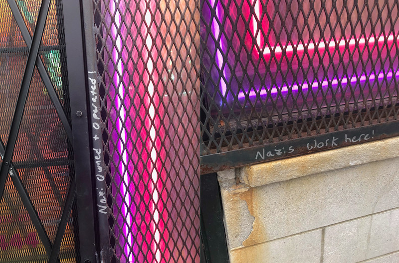 """Someone scrawled messages in marker Thursday reading """"Nazis work here!"""" and """"Nazi owned + operated"""" on the locked storefront of a Wicker Park tattoo shop Insight Studios after social media posters identified several employees and owners as attendees of President Donald Trump's Stop the Steal rally in Washington D.C. the day before."""