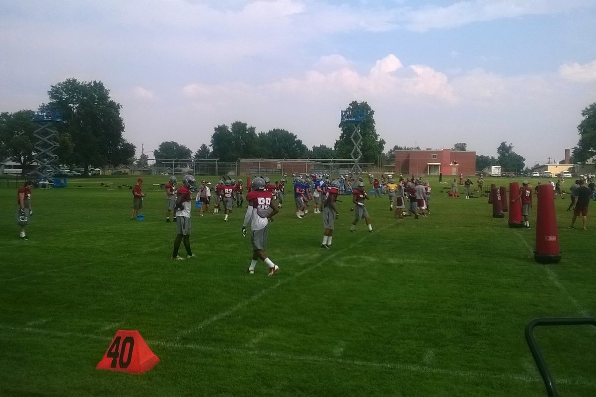 Receivers workout on Day 11 of Lewiston camp