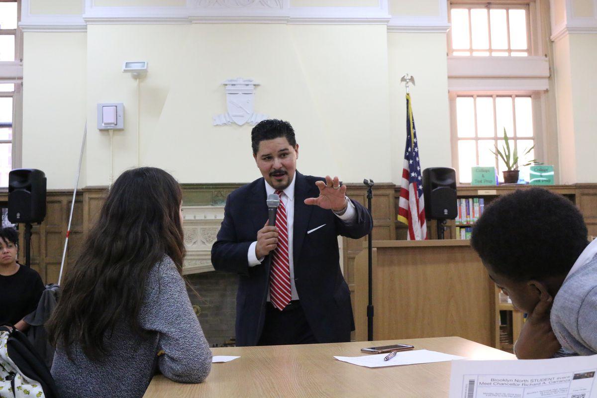 Schools Chancellor Richard Carranza hosts a town hall meeting at Brooklyn Technical High School.