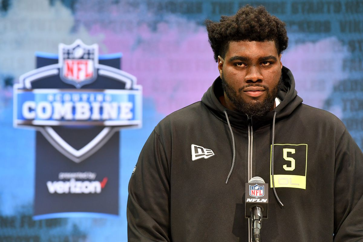 Mekhi Becton of the Louisville interviews during the second day of the 2020 NFL Scouting Combine at Lucas Oil Stadium on February 26, 2020 in Indianapolis, Indiana.