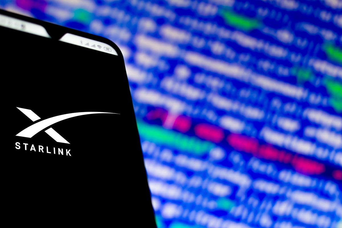 In this photo illustration a Starlink (SpaceX) logo app seen...