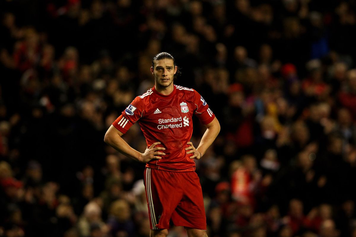 LIVERPOOL, ENGLAND - DECEMBER 30:   Andy Carroll of Liverpool looks on during the Barclays Premier League match between Liverpool and Newcastle United at Anfield on December 30, 2011 in Liverpool, England. (Photo by Clive Brunskill/Getty Images)