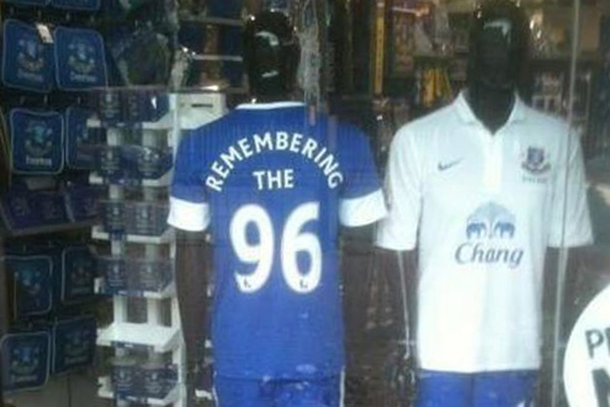 The Everton Megastore displaying their support for the families of the 96.