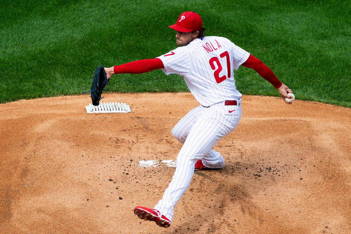 Philadelphia Phillies starting pitcher Aaron Nola (27) throws a pitch during the first inning against the Atlanta Braves at Citizens Bank Park.