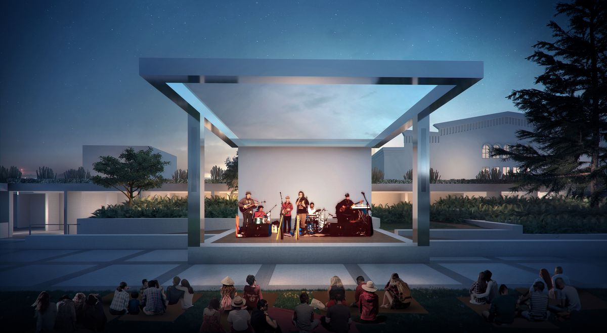 A rendering of a stage with a band playing. The stage is highlighted by four steel posts and a cover.