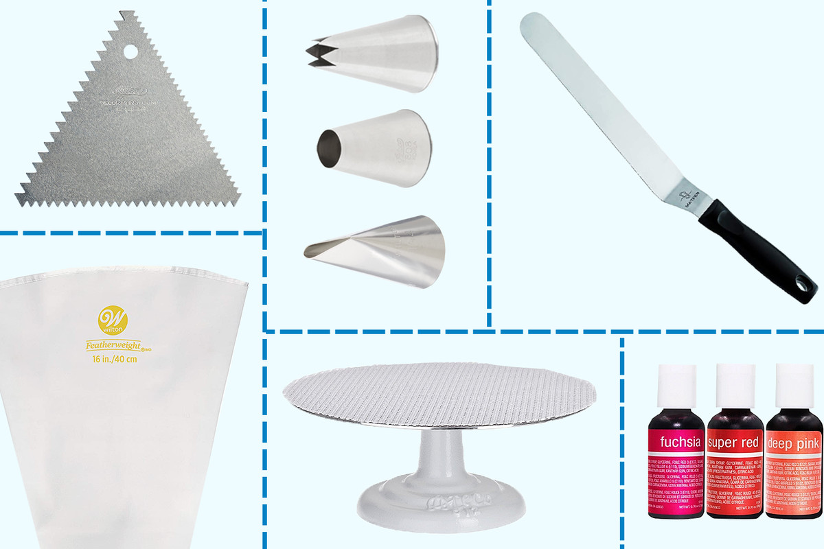 Cake decorating tools on a grid, including a palette knife, piping tips, food dye, a cake stand, a piping bag, and a cake comb
