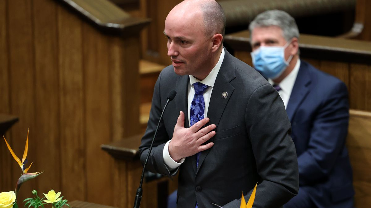 """Gov.-elect Spencer Cox gives speaks at the Freedom Fireside, which was livestreamed from the St. George Tabernacle on Sunday, Jan. 3, 2021.The fireside concluded a """"Day of Prayer"""" for Cox and Henderson."""