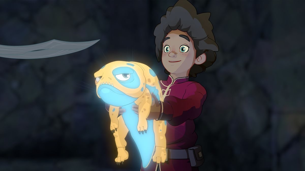 Prince Ezran and his pet, Bait, in The Dragon Prince S1.