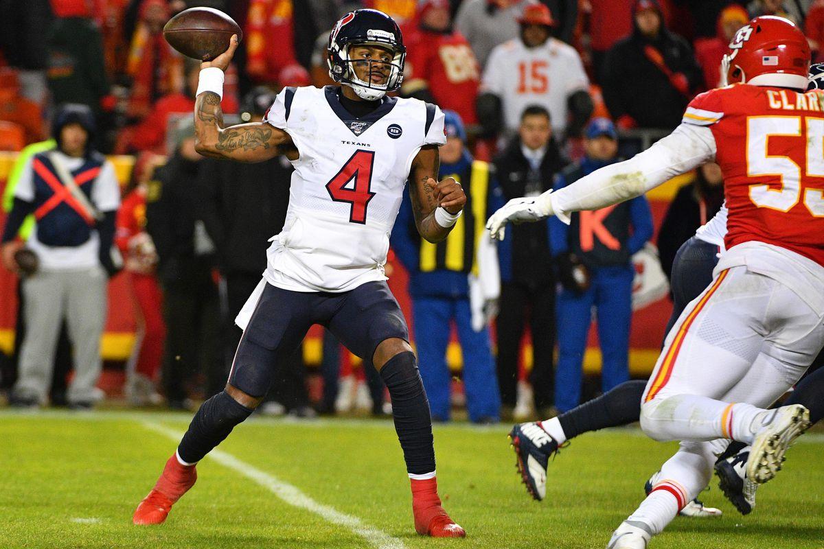 Houston Texans quarterback Deshaun Watson throws a pass during the AFC Divisional Round playoff football game against the Kansas City Chiefs at Arrowhead Stadium.