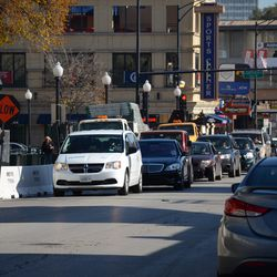 11:01 a.m. Westbound traffic being held, on Addison Street -