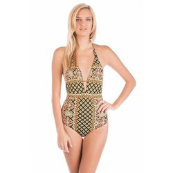 """<span class=""""credit""""><b>Nanette Lepore</b> One Piece Plunge Halter at <b>Everything But Water</b>, <a href=""""http://www.everythingbutwater.com/swimwear/browse/products/nanette-lepore/moroccan-medallion/53927+nl4ba10+62.html"""">$144</a></span><p>"""