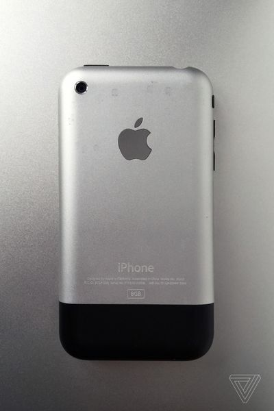 The back of the first generation Apple iPhone