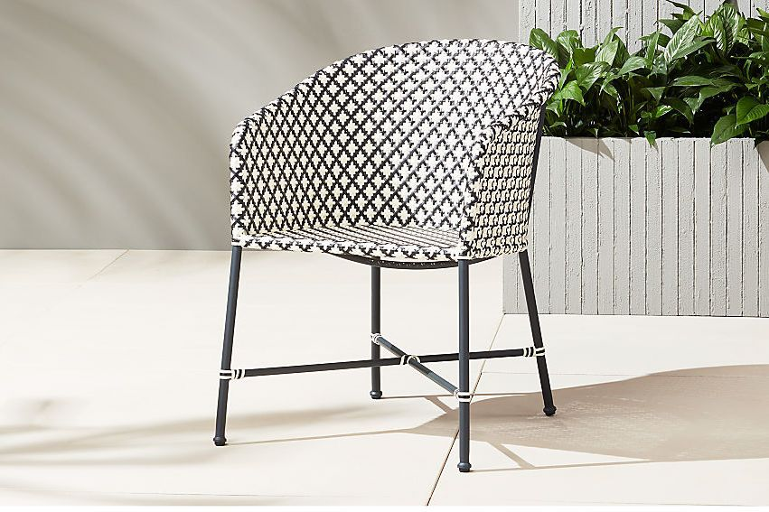 Black and white patterned chair.