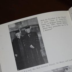 A photo of Cecil B. DeMille and LDS Church President David O. McKay dressed in graduation robes and caps in May 1957 when DeMille gave the commencement address appears in DeMille's autobiography.