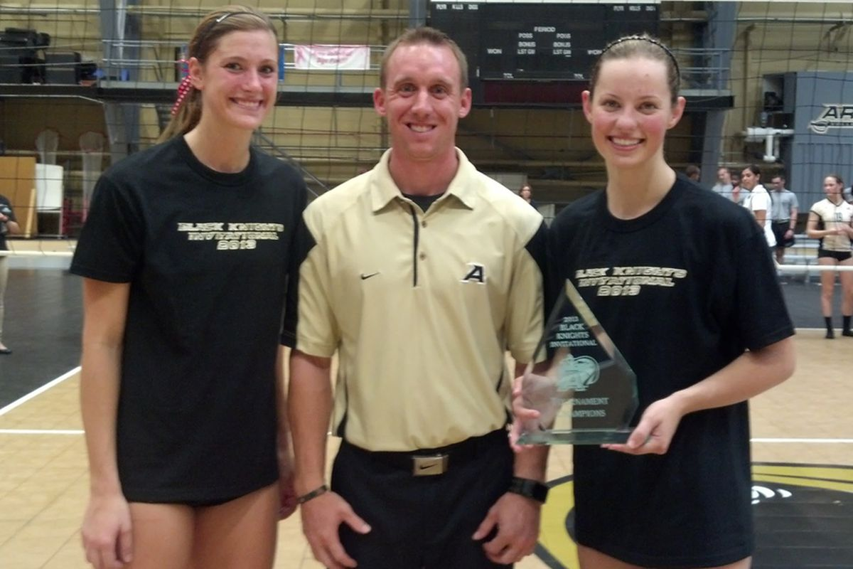Marcelina Glab and Camryn Irwin pose with the Army Black Knight Invitational Trophy