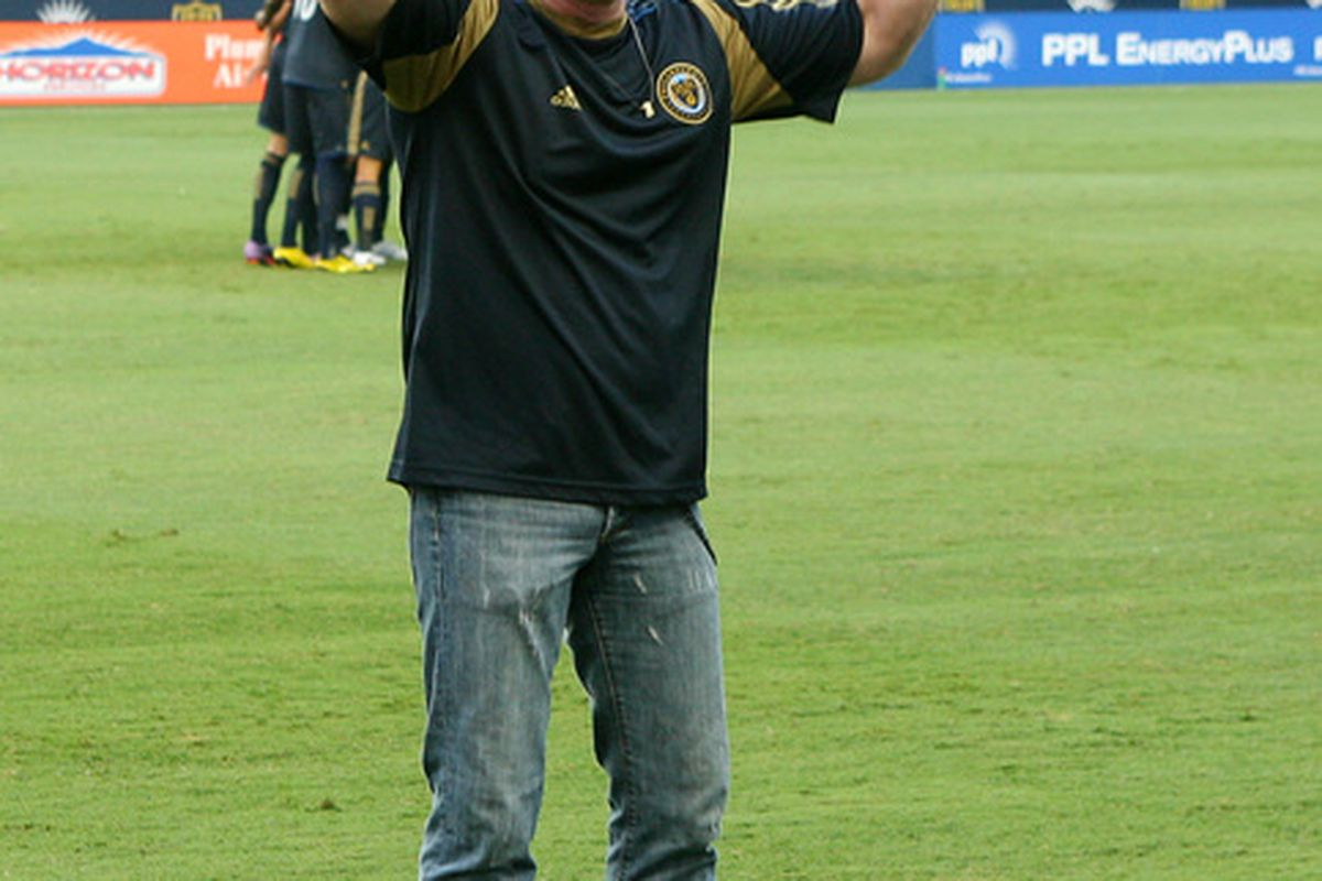 CHESTER PA - AUGUST 11: WYSP radio personality Danny Bonaduce is introduced to the crowd before the game between the Philadelphia Union and Real Salt Lake at PPL Park on August 11 2010 in Chester Pennsylvania. (Photo by Hunter Martin/Getty Images)
