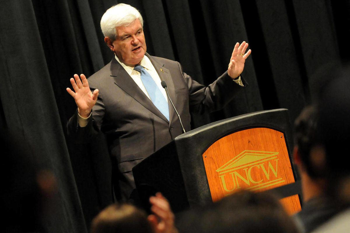 Republican presidential candidate, former House Speaker Newt Gingrich speaks to a full house at UNCW's Lumina Theater in Wilmington, N.C., Wednesday April 4, 2012.