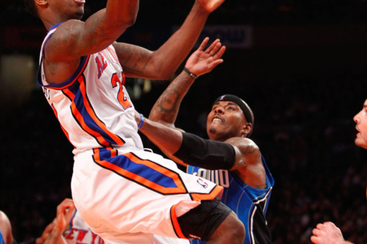 Mar. 28, 2012; New York, NY, USA; New York Knicks guard Iman Shumpert (21) drives to the basket during the second half against the Orlando Magic at Madison Square Garden. Knicks won 108-86. Mandatory Credit: Debby Wong-US PRESSWIRE
