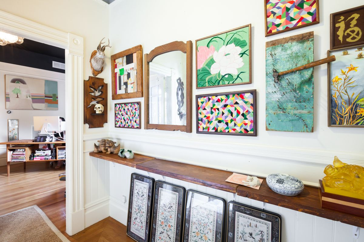 Chien has a large collection of her grandmother's needlepoint. As the older woman's eyesight failed, her handwork became abstract.
