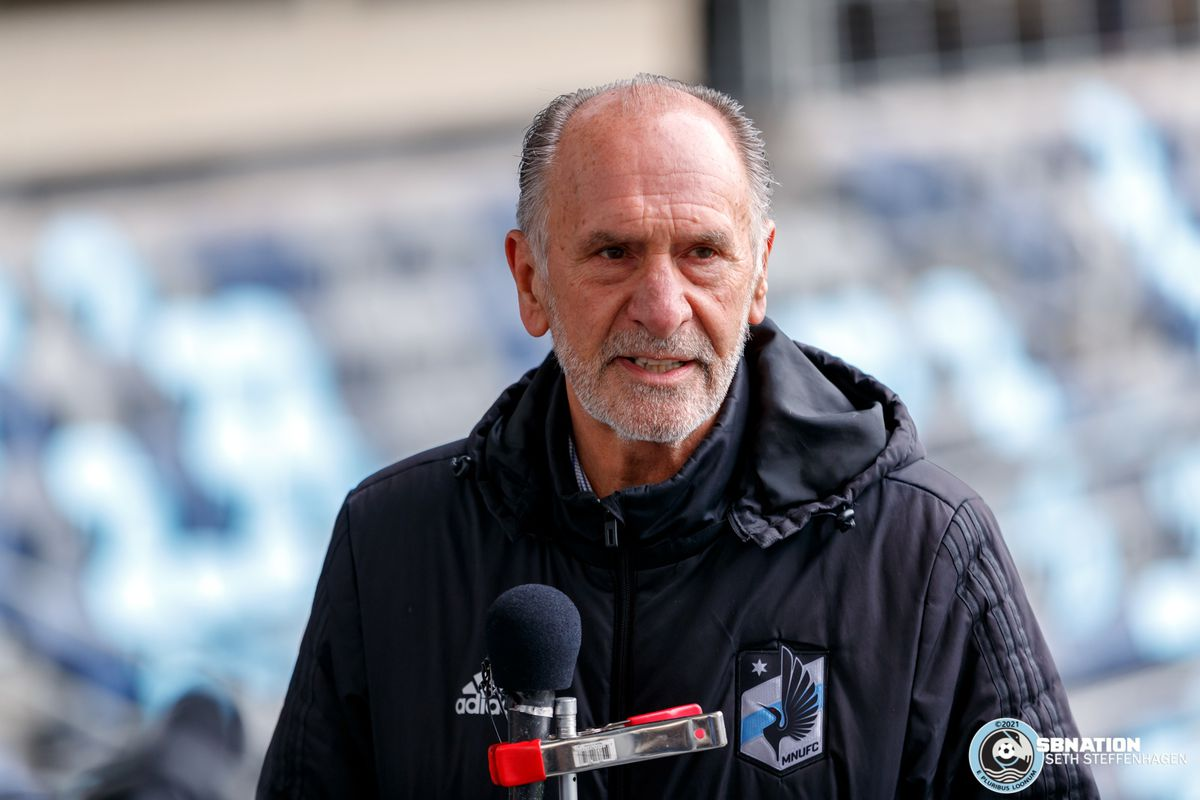 April 20, 2021 - Saint Paul, Minnesota, United States - Chief Executive Officer Chris Wright takes questions from the media during the Loon's first team training session at Allianz Field.