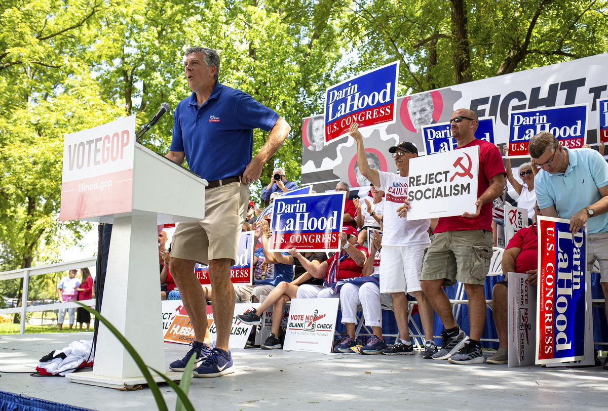 U.S. Rep. Darin LaHood, R-Ill., speaks during Republican Day at the Illinois State Fair in 2019.