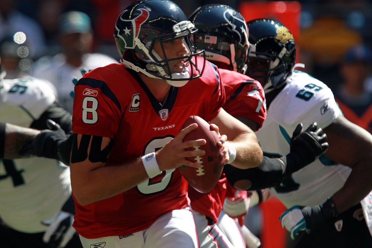 HOUSTON, TX - OCTOBER 30:  Matt Schaub #8 of the Houston Texans throws against the Jacksonville Jaguars at Reliant Stadium on October 30, 2011 in Houston, Texas.  (Photo by Ronald Martinez/Getty Images)