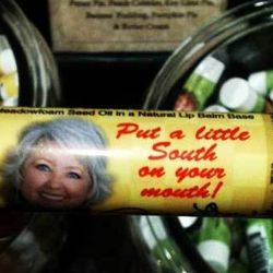"""Paula Deen's <a href=""""http://eater.com/archives/2011/10/17/paula-deen-sells-a-butterflavored-lip-balm.php"""">butter-flavored lip balm</a> can only be purchased in person at her store in Savannah, Georgia."""