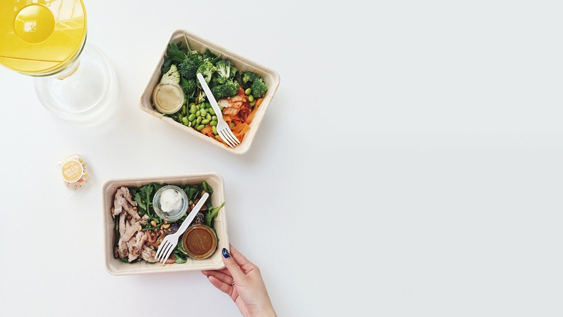 Sprig hand-delivers meals in compostable boxes to people who order them from its mobile app.