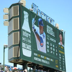 1:51 p.m. Example of the left field video board during the game -