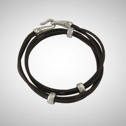 Silver and black leather wrap, $195
