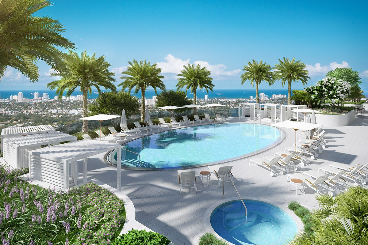 A rendering of the pool at Icon Las Olas