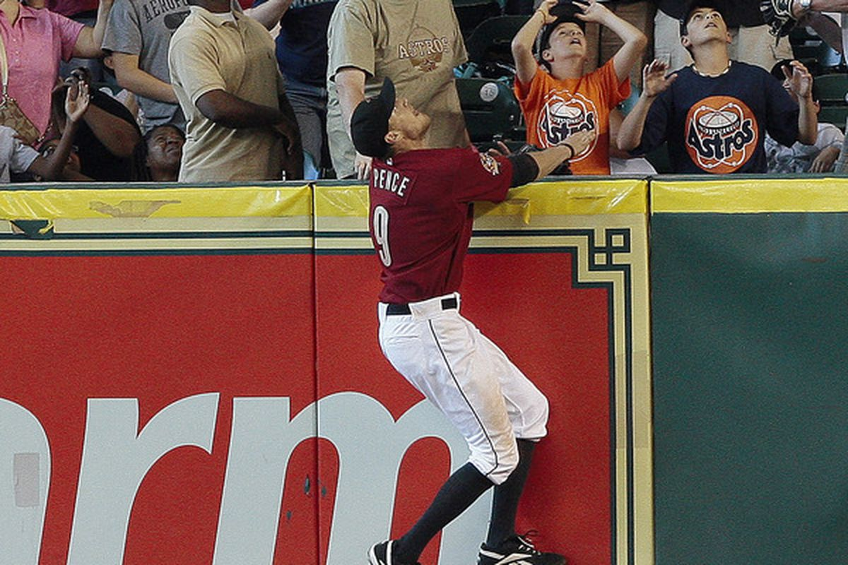 Hunter Pence clearly has the right idea here: things are looking up, Astros fans. (Photo by Bob Levey/Getty Images)