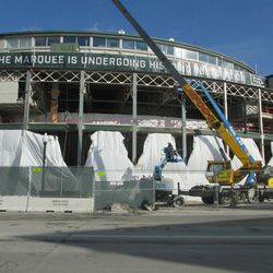 11:50 a.m. The front of the ballpark, viewed from the northwest corner of Addison and Clark -