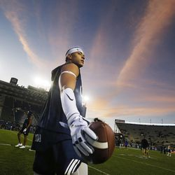 Brigham Young Cougars defensive back Chaz Ah You (19)  warms up prior to the game with the Boise State Broncos in Provo on Friday, Oct. 6, 2017.