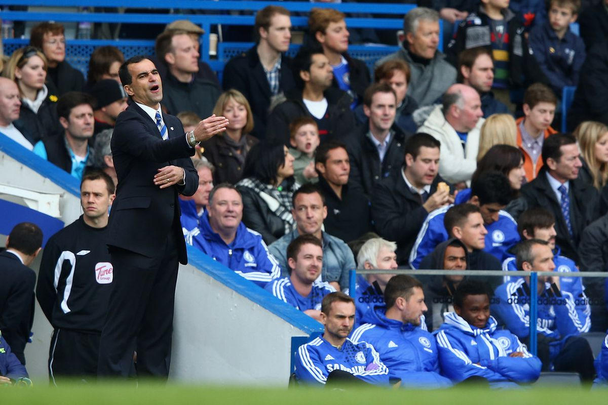 Roberto Martinez, manager of Wigan Athletic gives instructions during the Barclays Premier League match between Chelsea and Wigan Athletic at Stamford Bridge.