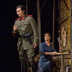 """In this Sept. 22, 2012 photo provided by the Metropolitan Opera, Yonghoon Lee performs in the role of Don Jose opposite Kate Royal as Micaela in Bizet's """"Carmen,"""" during a rehearsal at the Metropolitan Opera in New York."""