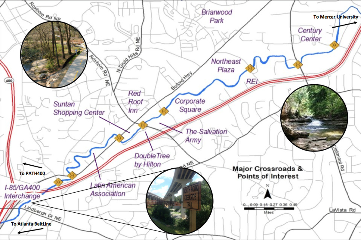 An image of the Peachtree Creek Greenway, which would build off existing infrastructure and bucolic surroundings.