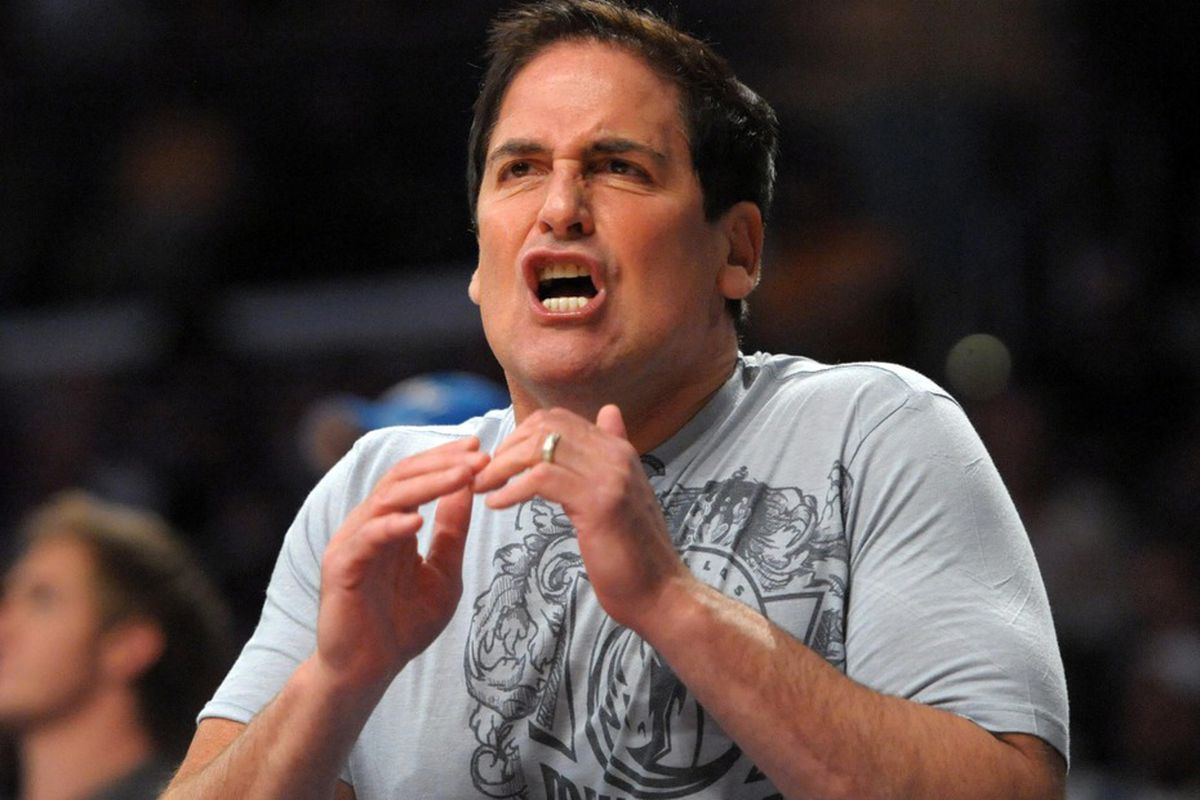 Apr 15, 2012; Los Angeles, CA, USA; Mark Cuban is getting ready to say something mean. Mandatory Credit: Kirby Lee/Image of Sport-US PRESSWIRE