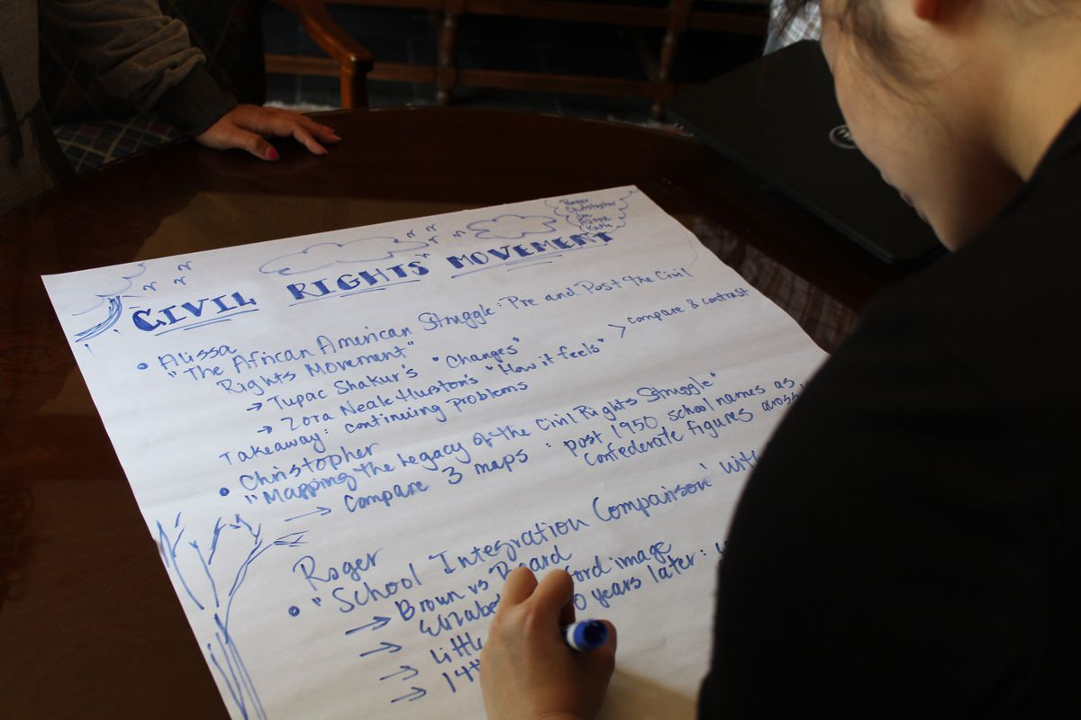 A high school history teacher writes down lesson plans that her team will present to the group.