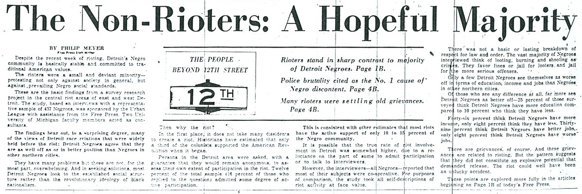 """""""The Non-Rioters: A Hopeful Majority"""" newspaper article by Myers"""